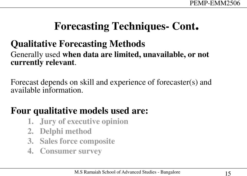 Demand forecasting & Aggregate planning in a Supply chain