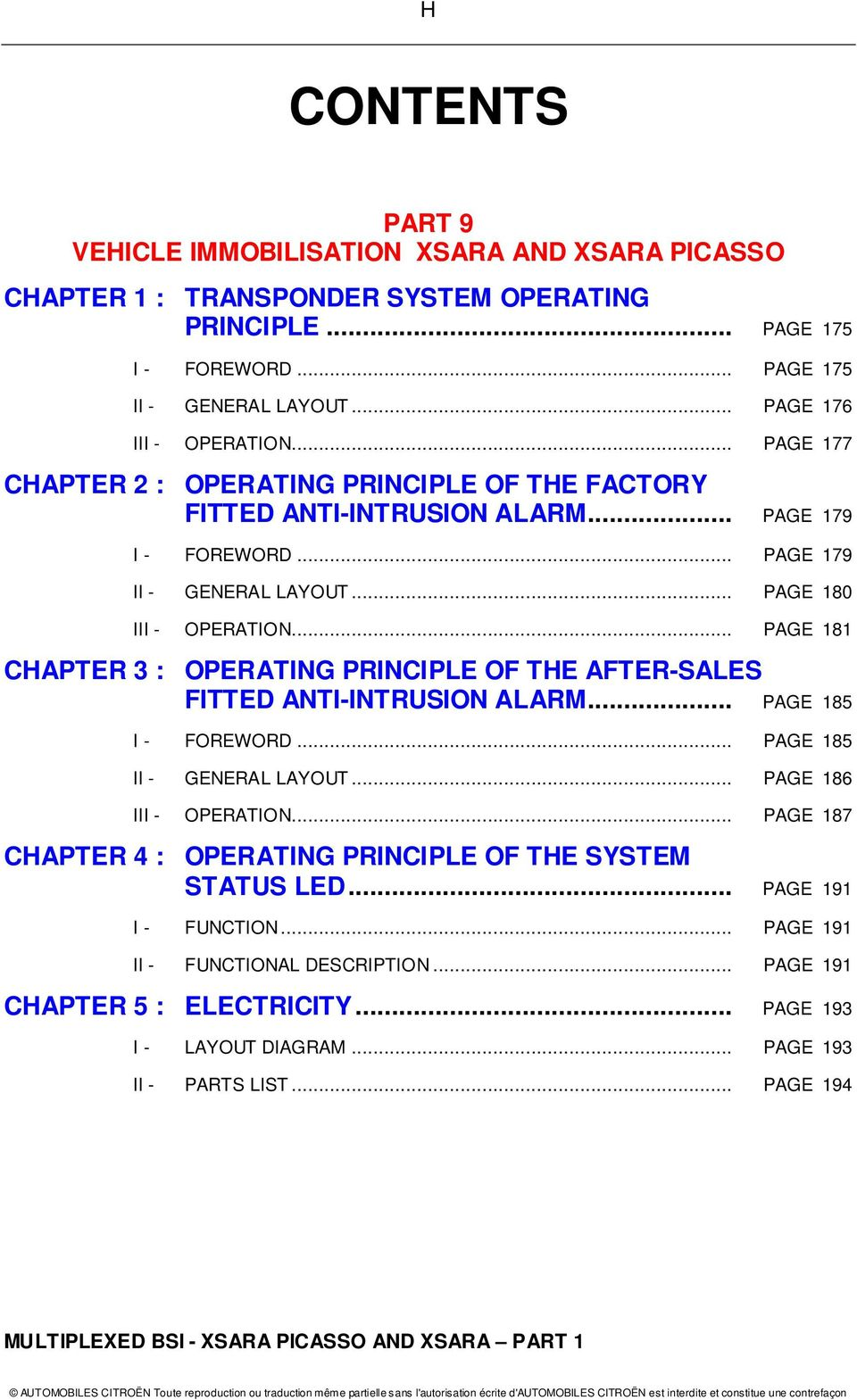 Multiplexed Bsi Operating Principle For The Xsara Picasso And Citroen C8 Abs Wiring Diagram Page 181 Chapter 3 Of After Sales Fitted Anti