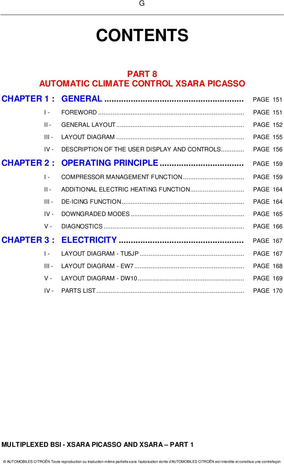 Multiplexed Bsi Operating Principle For The Xsara Picasso And Citroen C8 Abs Wiring Diagram Page 159 Ii Additional Electric Heating Function 164 Iii