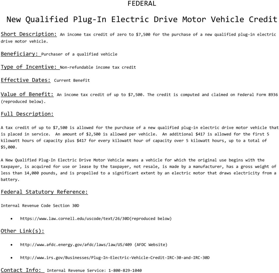 The Credit Is Computed And Claimed On Federal Form 8936 Reproduced Below 2 26 Usc 30d New Qualified Plug In Electric Drive Motor Vehicles