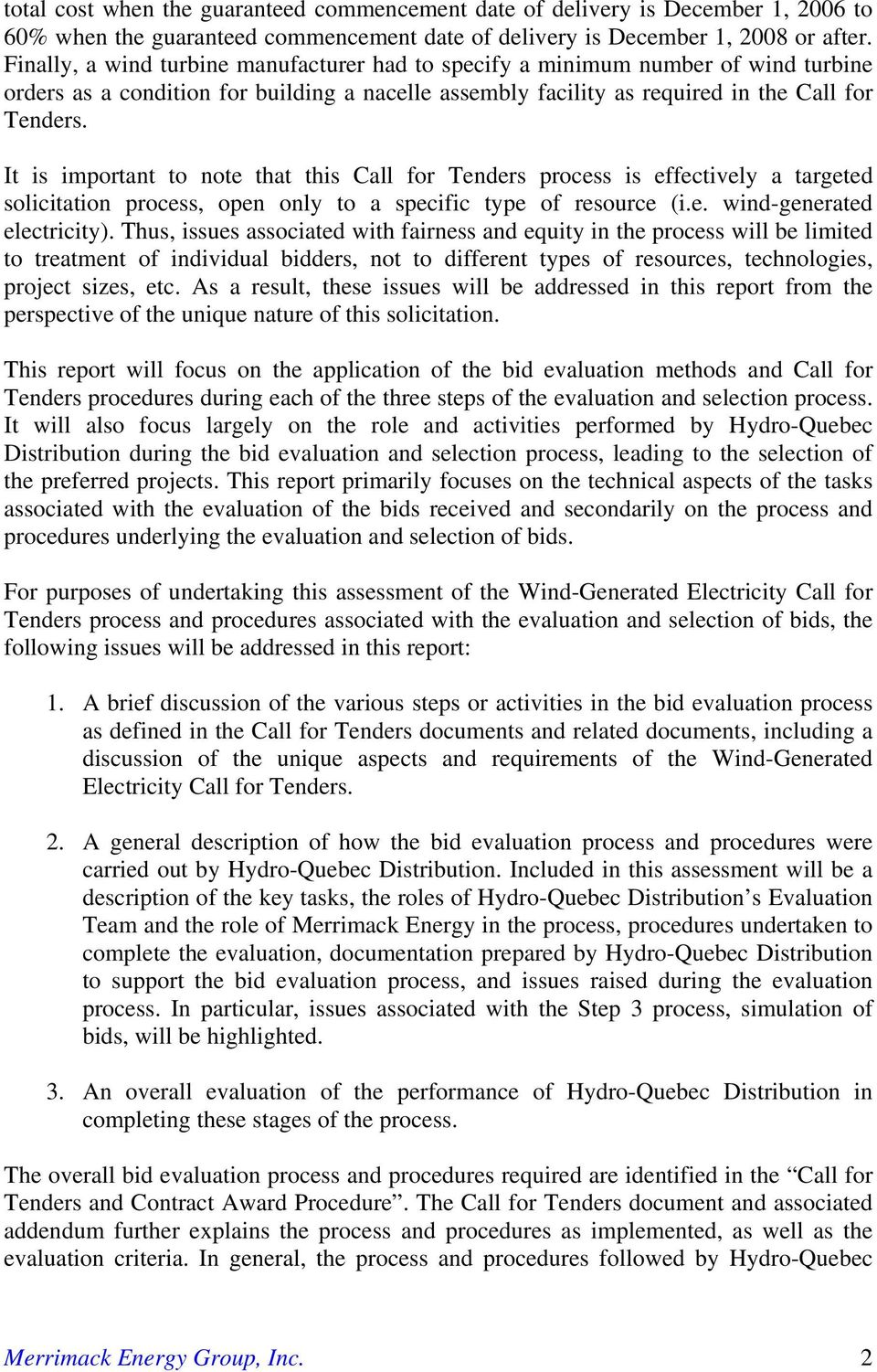 Final Report Bid Evaluation and Selection Process For Wind-Generated