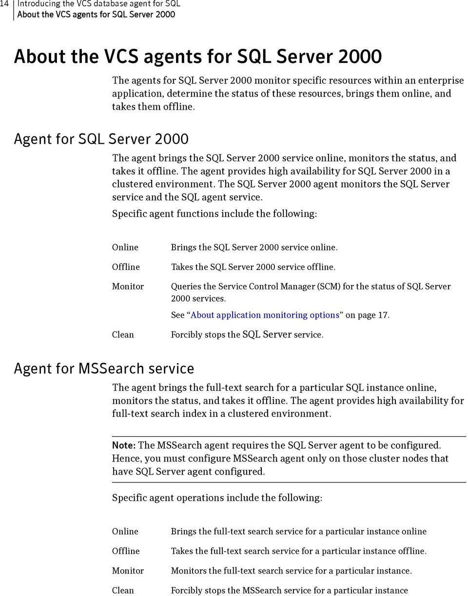 Agent for SQL Server 2000 The agent brings the SQL Server 2000 service online, monitors the status, and takes it offline.