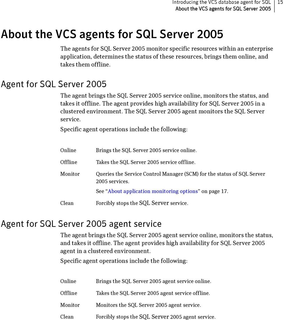 Agent for SQL Server 2005 The agent brings the SQL Server 2005 service online, monitors the status, and takes it offline.