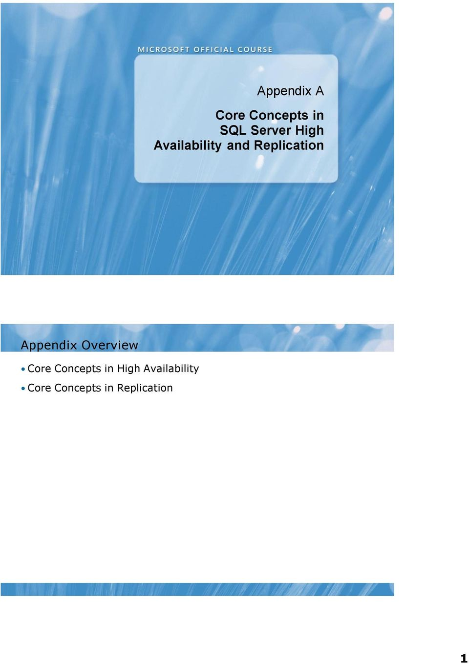 Appendix Overview Core Concepts in