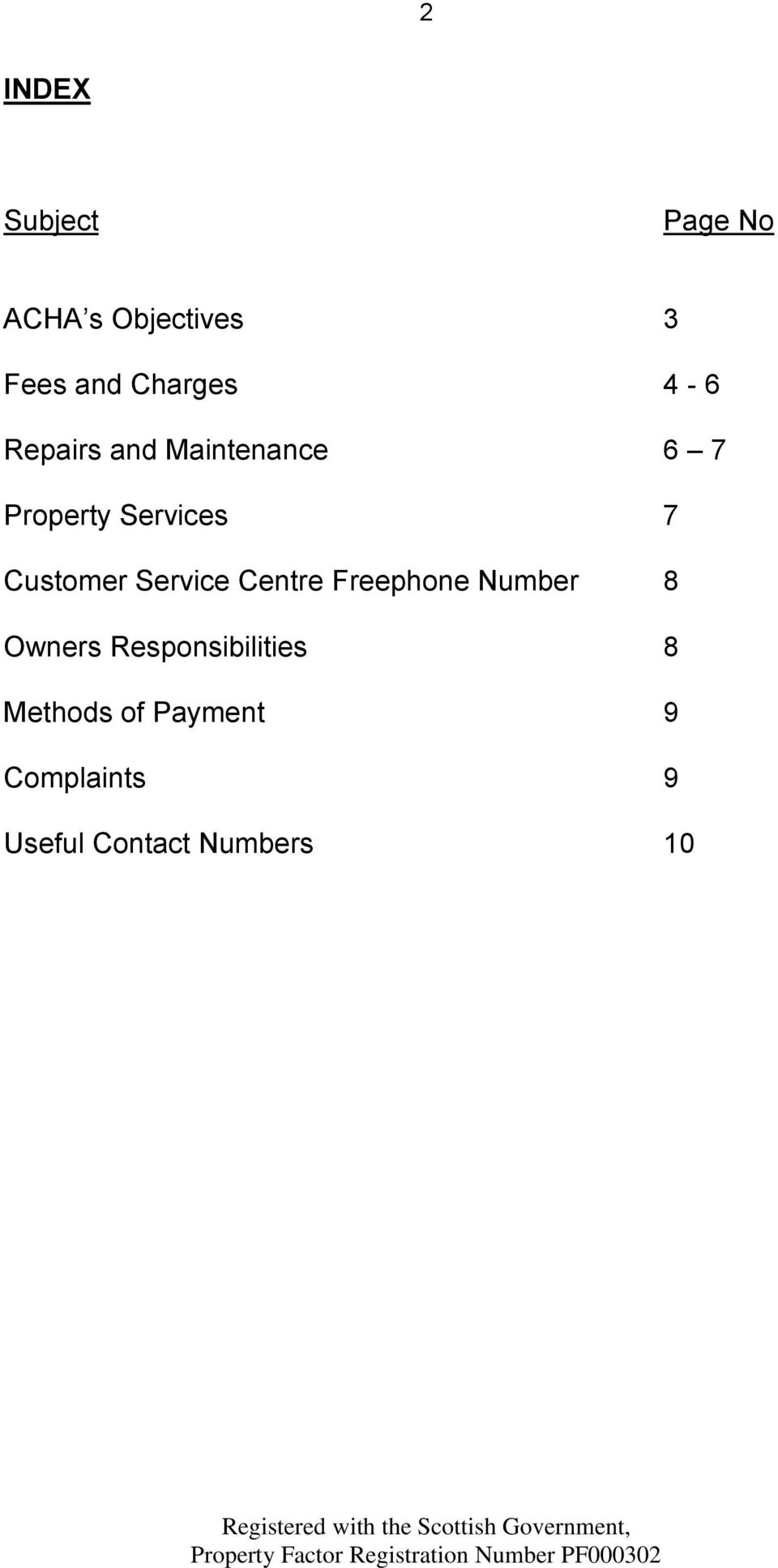 Service Centre Freephone Number 8 Owners Responsibilities 8