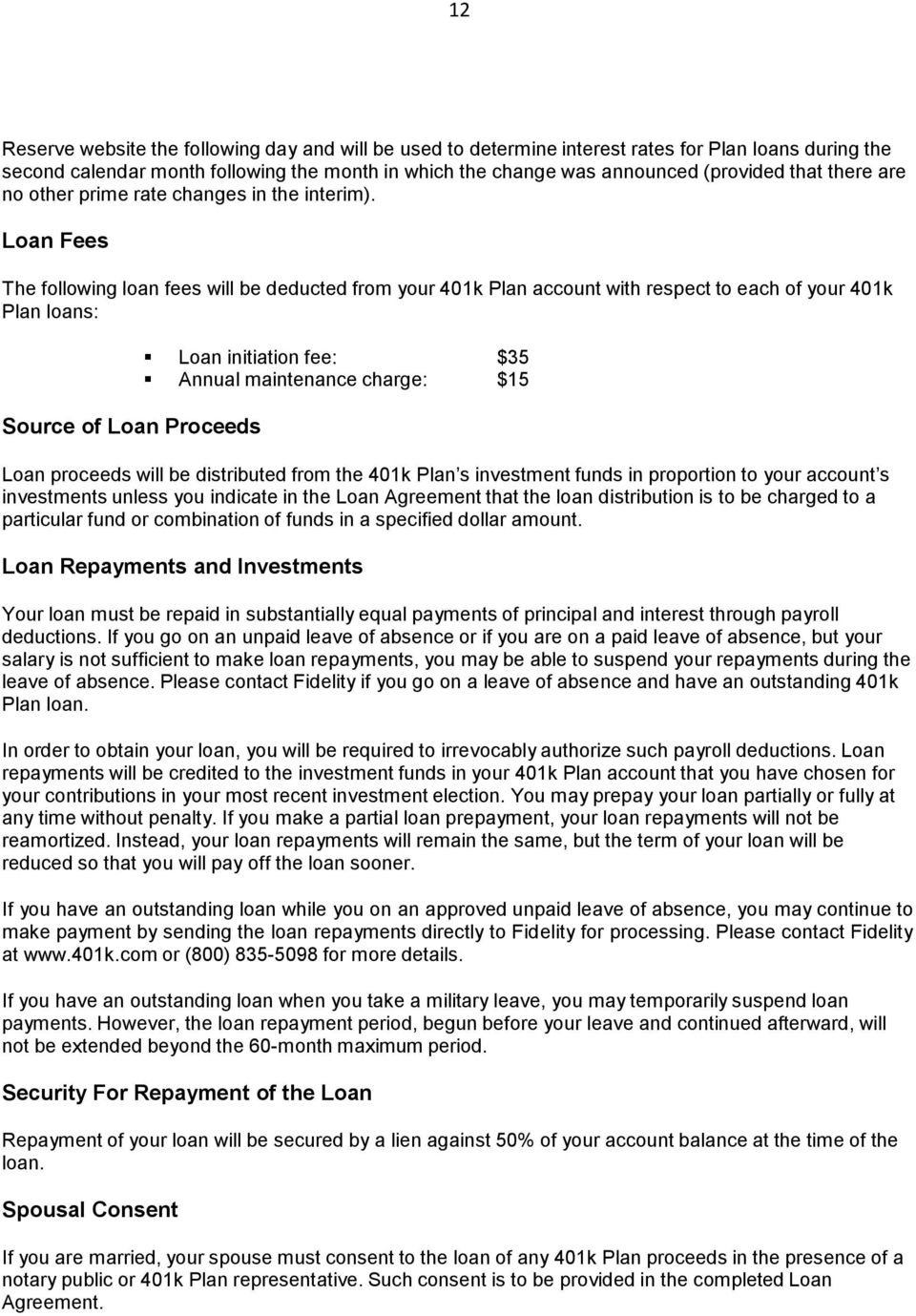VISA 401k PLAN SUMMARY PLAN DESCRIPTION January 1, Table of
