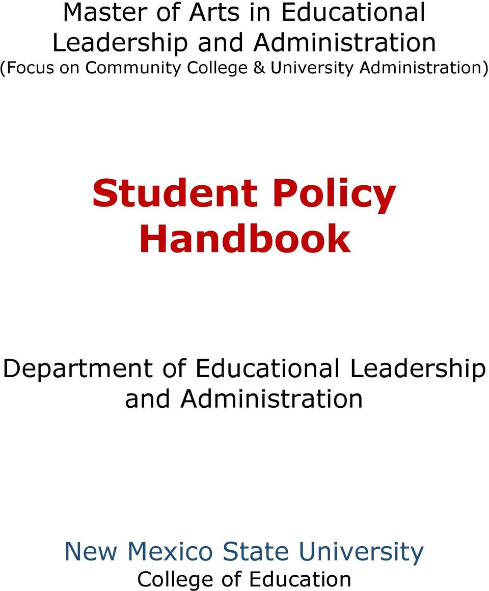 Student Policy Handbook Department of Educational Leadership
