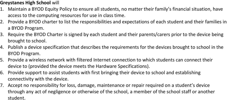 Greystanes High School Student Bring Your Own Device Byod Policy Pdf