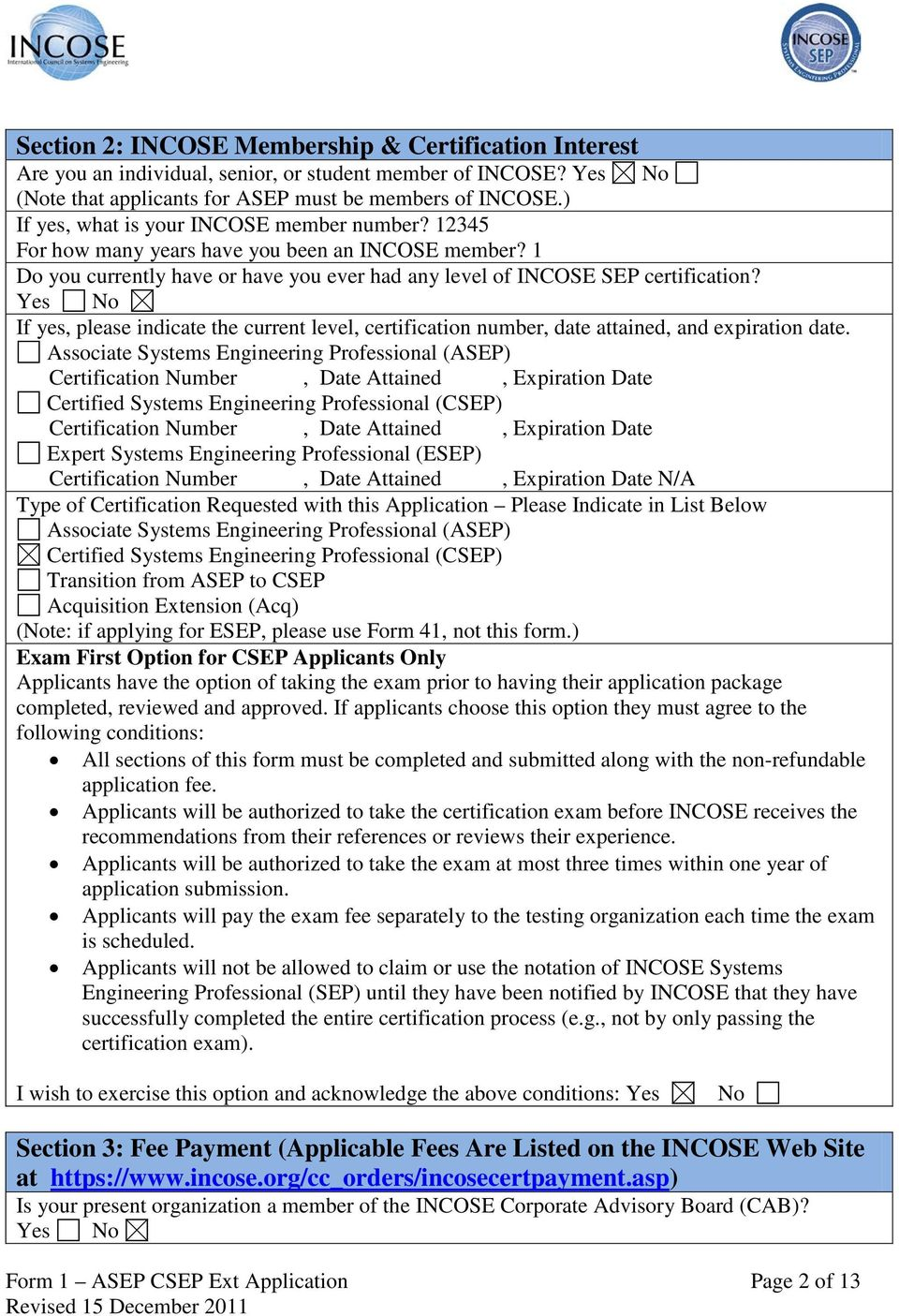 Form 1 Application For Incose Asep Csep And Extensions Pdf