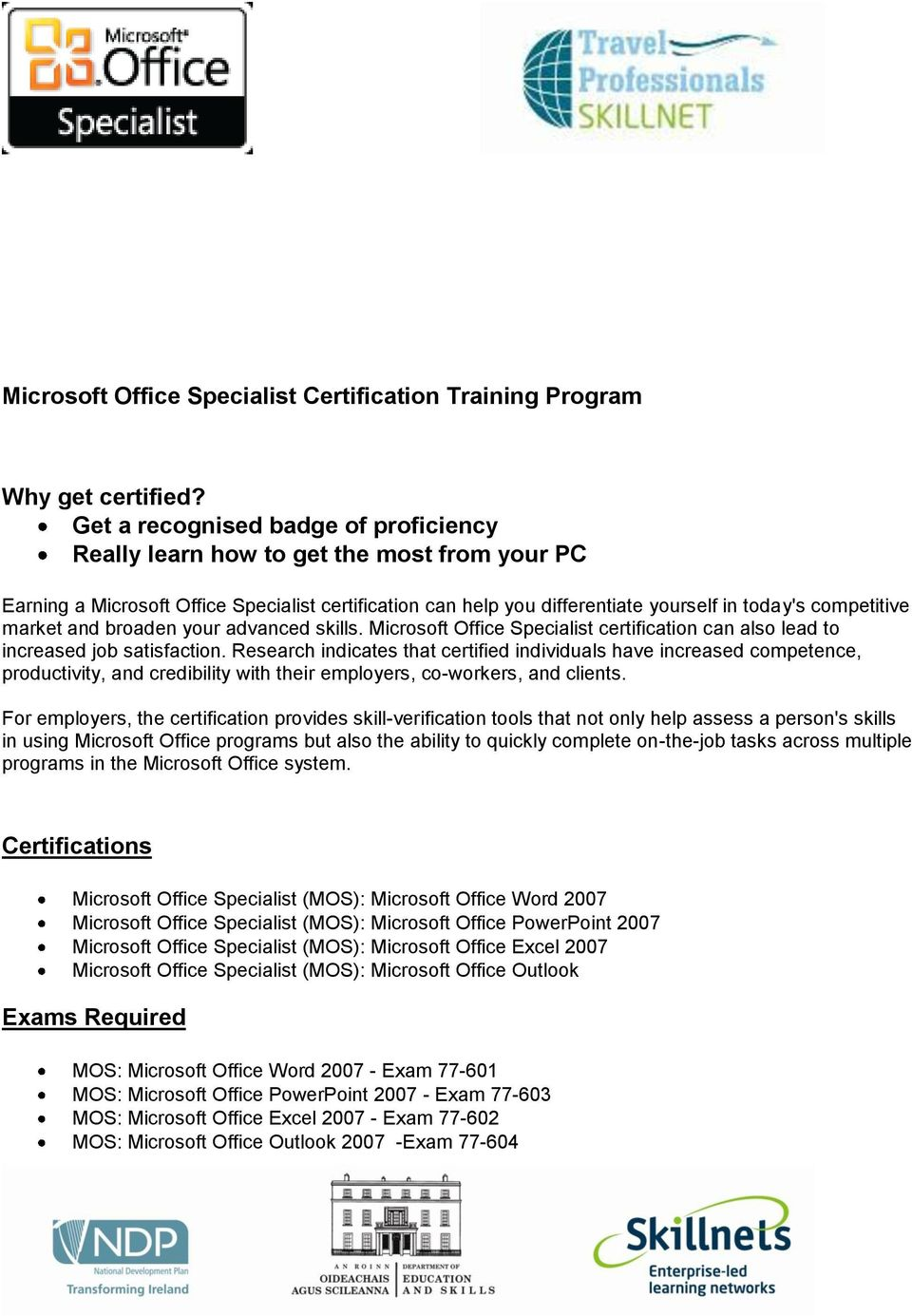 Microsoft Office Certification Training Online Gallery Free