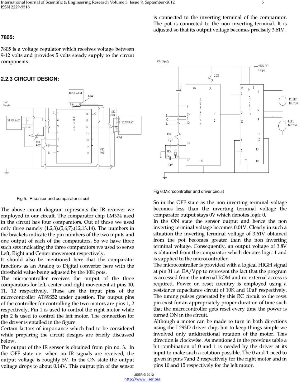 Microcontroller Based Infrared Tracking Device In 2d Motion Pdf Ir Sensor Circuit Detector 7805 Is A Voltage Regulator Which Receives Between 9 12 Volts And Provides 5