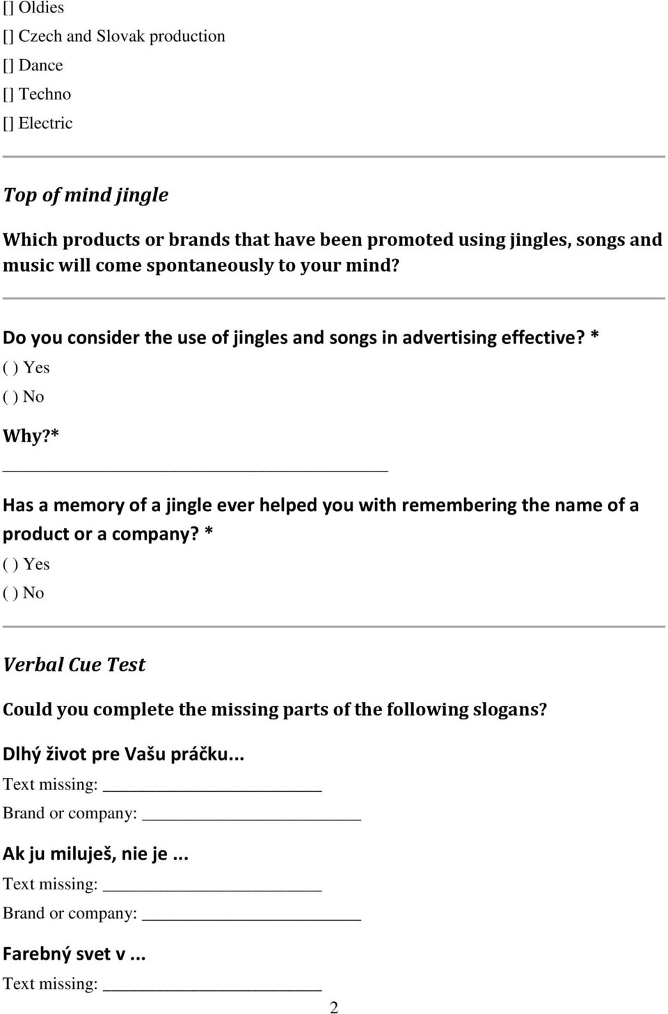 Impact of Songs and Jingles Used in Advertising on Brand and Product