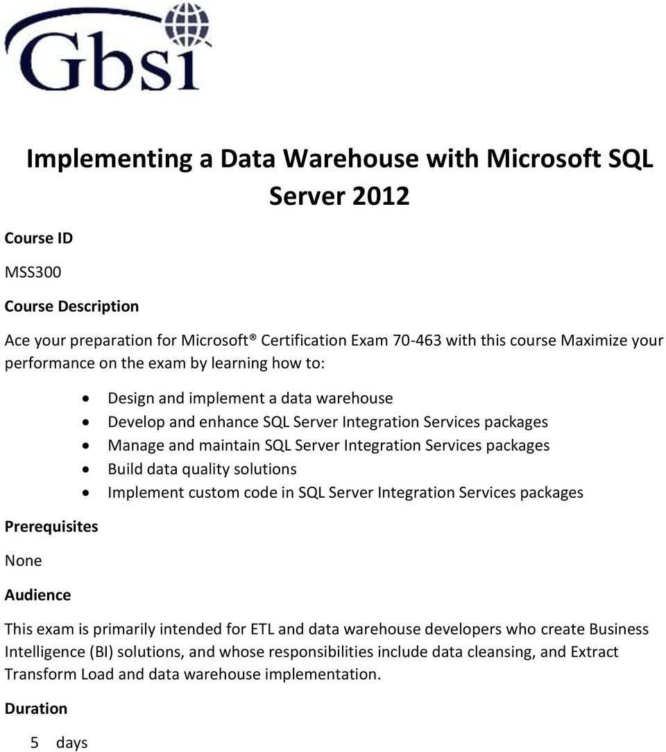 Implementing A Data Warehouse With Microsoft Sql Server Pdf