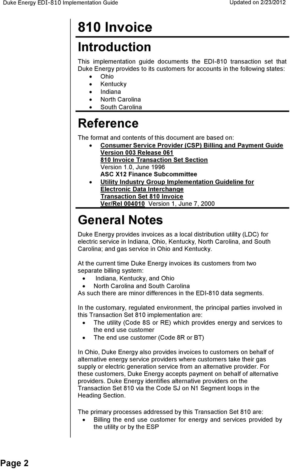 810 Invoice  Introduction  Reference  General Notes  Page 2