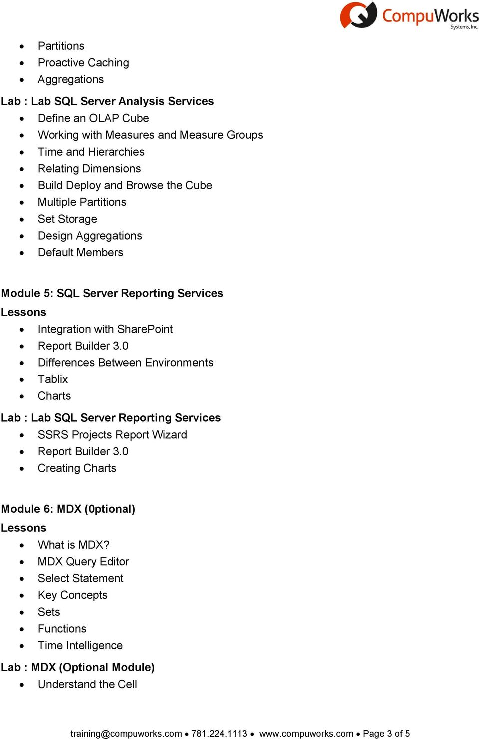 0 Differences Between Environments Tablix Charts Lab : Lab SQL Server Reporting Services SSRS Projects Report Wizard Report Builder 3.0 Creating Charts Module 6: MDX (0ptional) What is MDX?