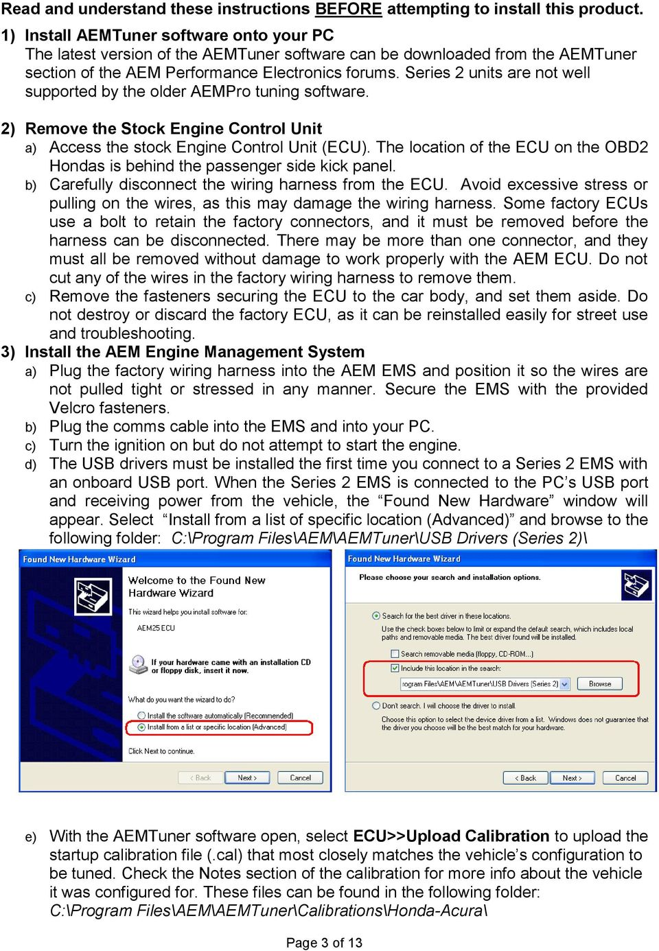 Installation Instructions for: EMS P/N Acura Integra Acura 2.3CL ...