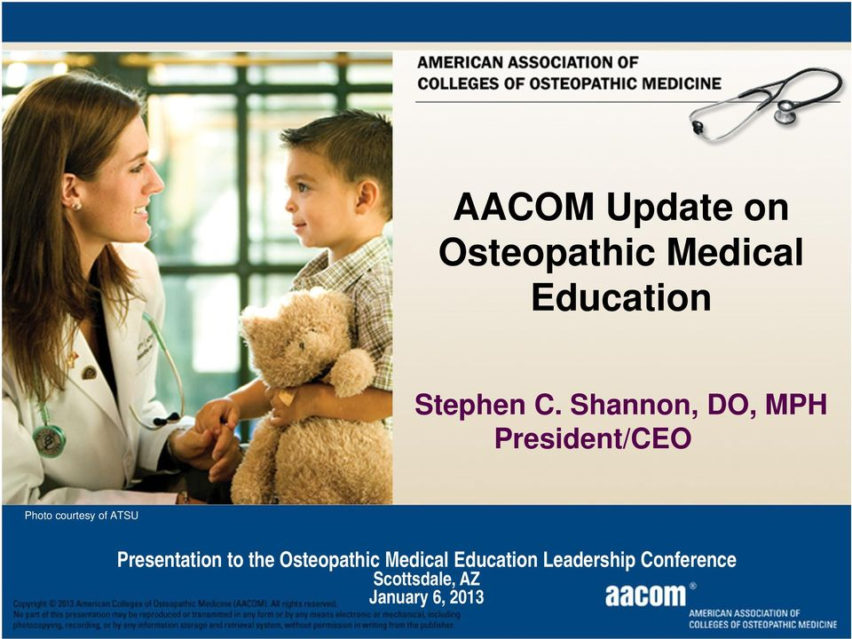 AACOM Update on Osteopathic Medical Education - PDF