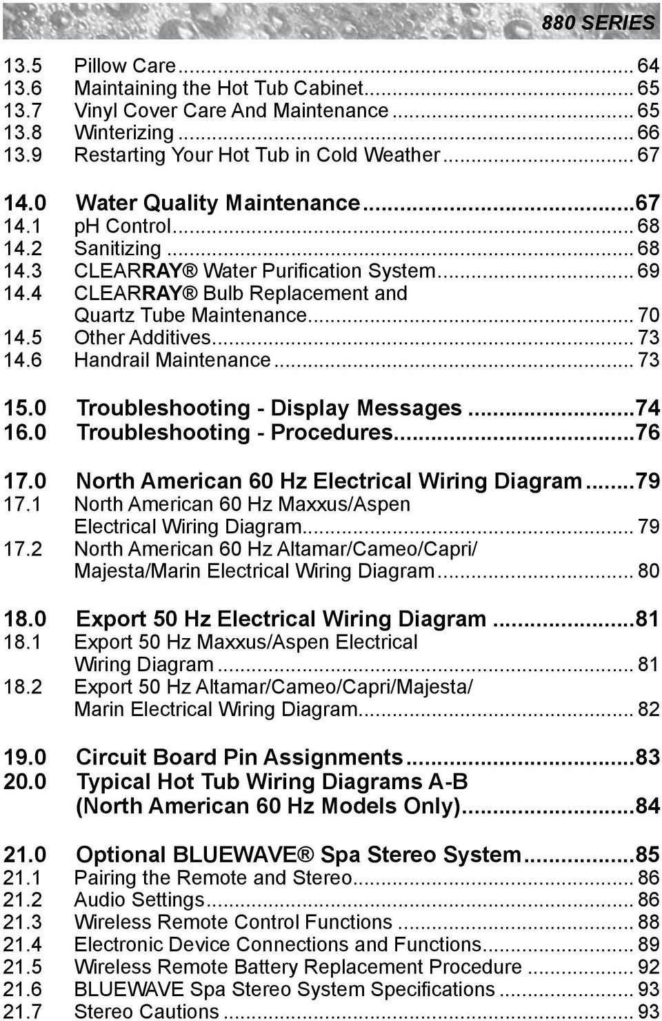 Pn B Rev A 880 Series Owner S Manual Maxxus Aspen Optima Cameo Hot Tub Pump Wiring Diagram Also Carrier Air Handler 0 Troubleshooting Display Messages7 60 Procedures