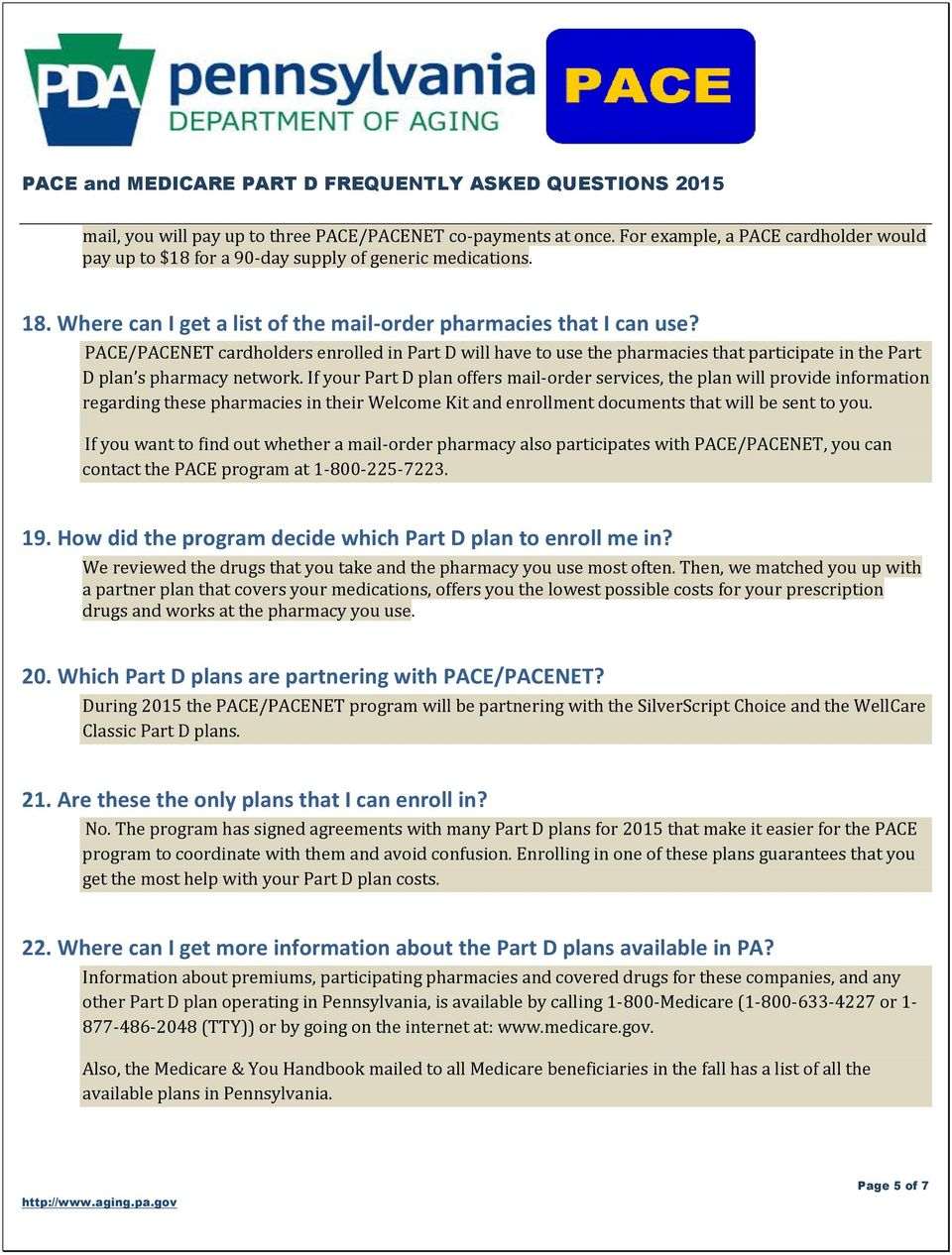 PACE and MEDICARE PART D FREQUENTLY ASKED QUESTIONS PDF