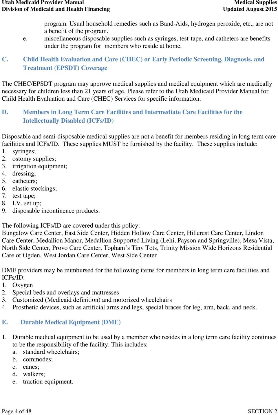 SECTION 2  Medical Supplies  Table of Contents - PDF