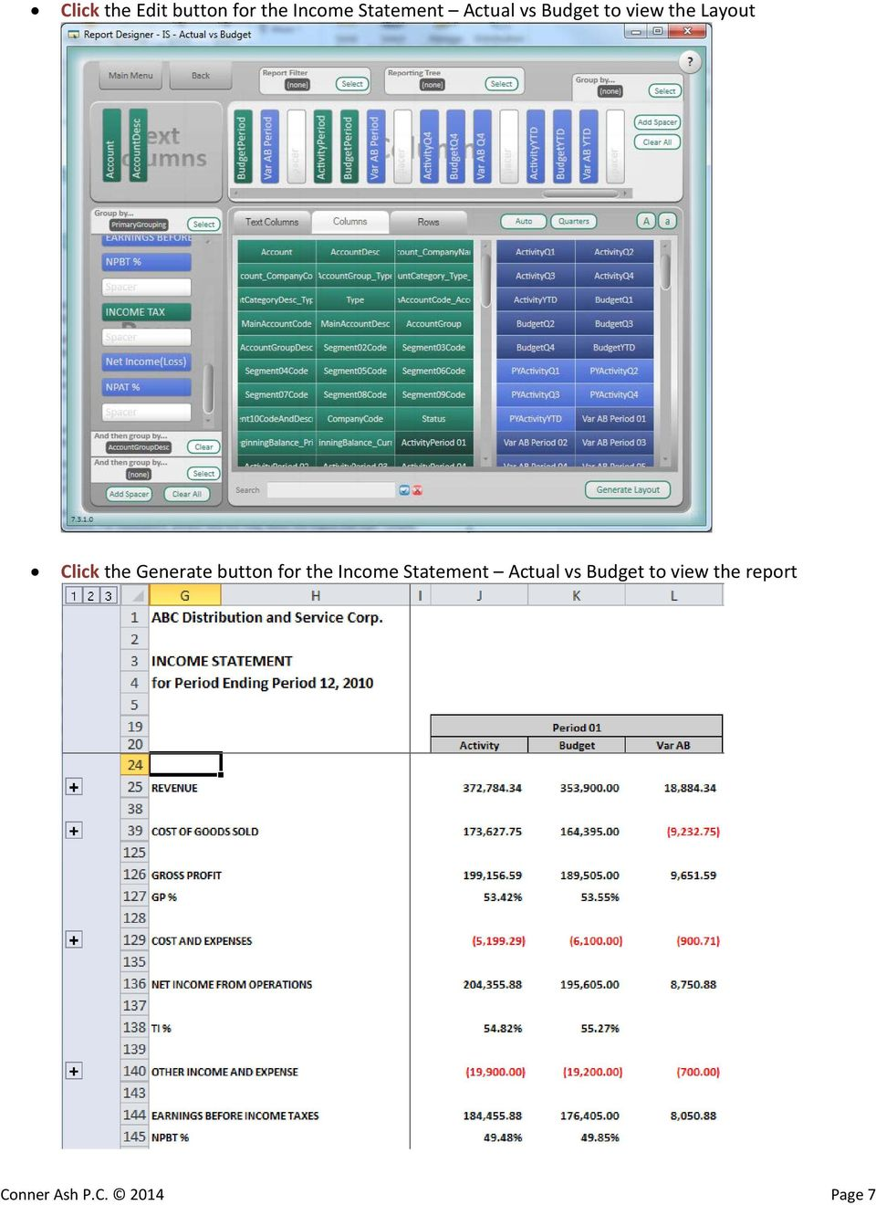 Generate button for the Income Statement Actual