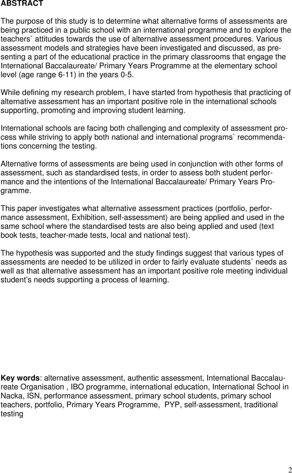 ALTERNATIVE ASSESSMENT IN PRIMARY YEARS OF INTERNATIONAL