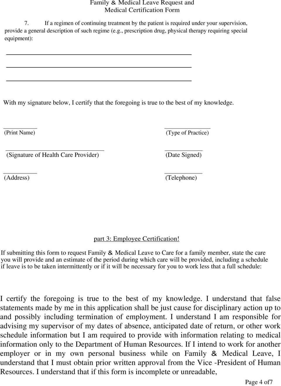 Family Medical Leave Request And Medical Certification Form Part