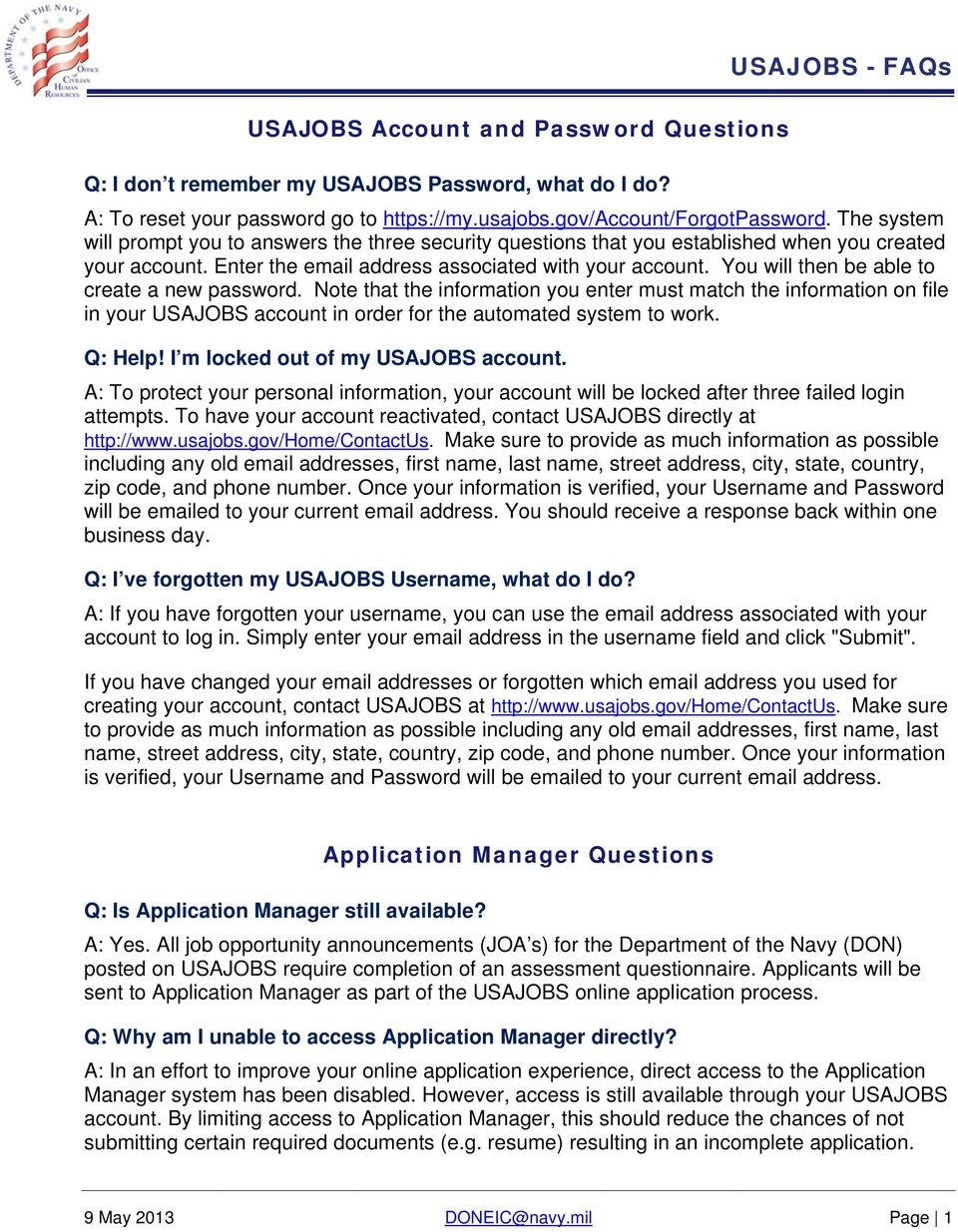 Usajobs Applicant Frequently Asked Questions Faqs Pdf Free