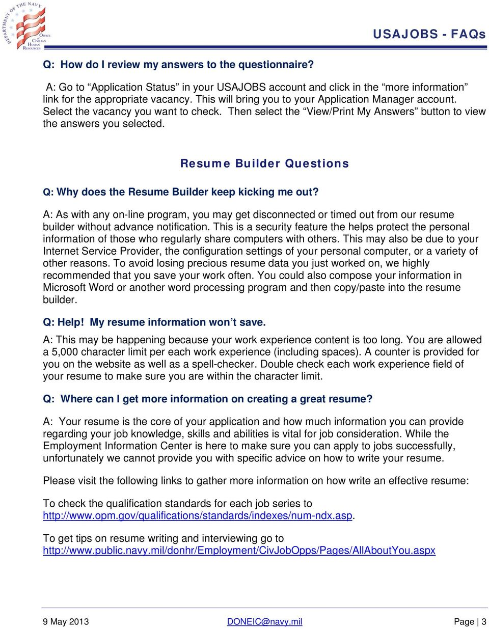 Usajobs Applicant Frequently Asked Questions Faqs Pdf