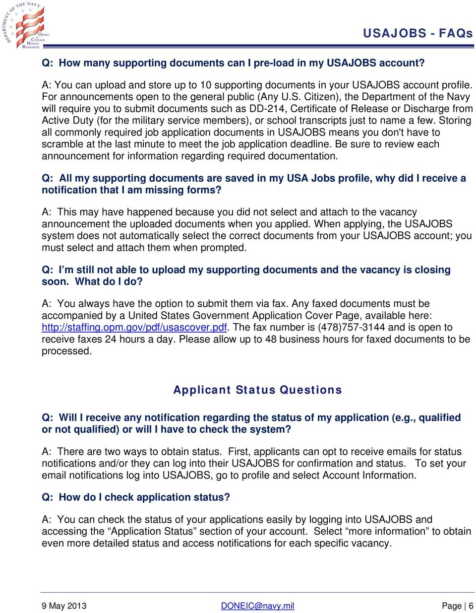 USAJOBS Applicant Frequently Asked Questions (FAQs) - PDF