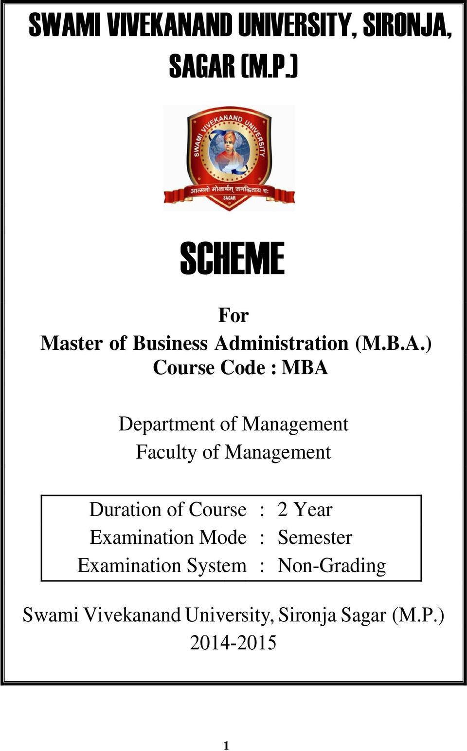 For Master of Business Administration (M B A ) Course Code : MBA - PDF