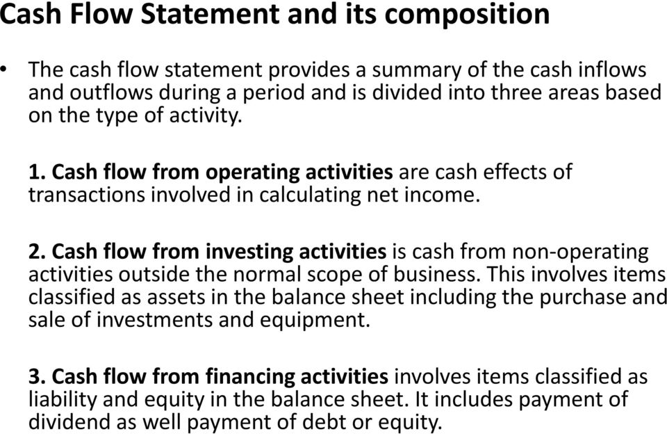Cash flow from investing activities is cash from non-operating activities outside the normal scope of business.