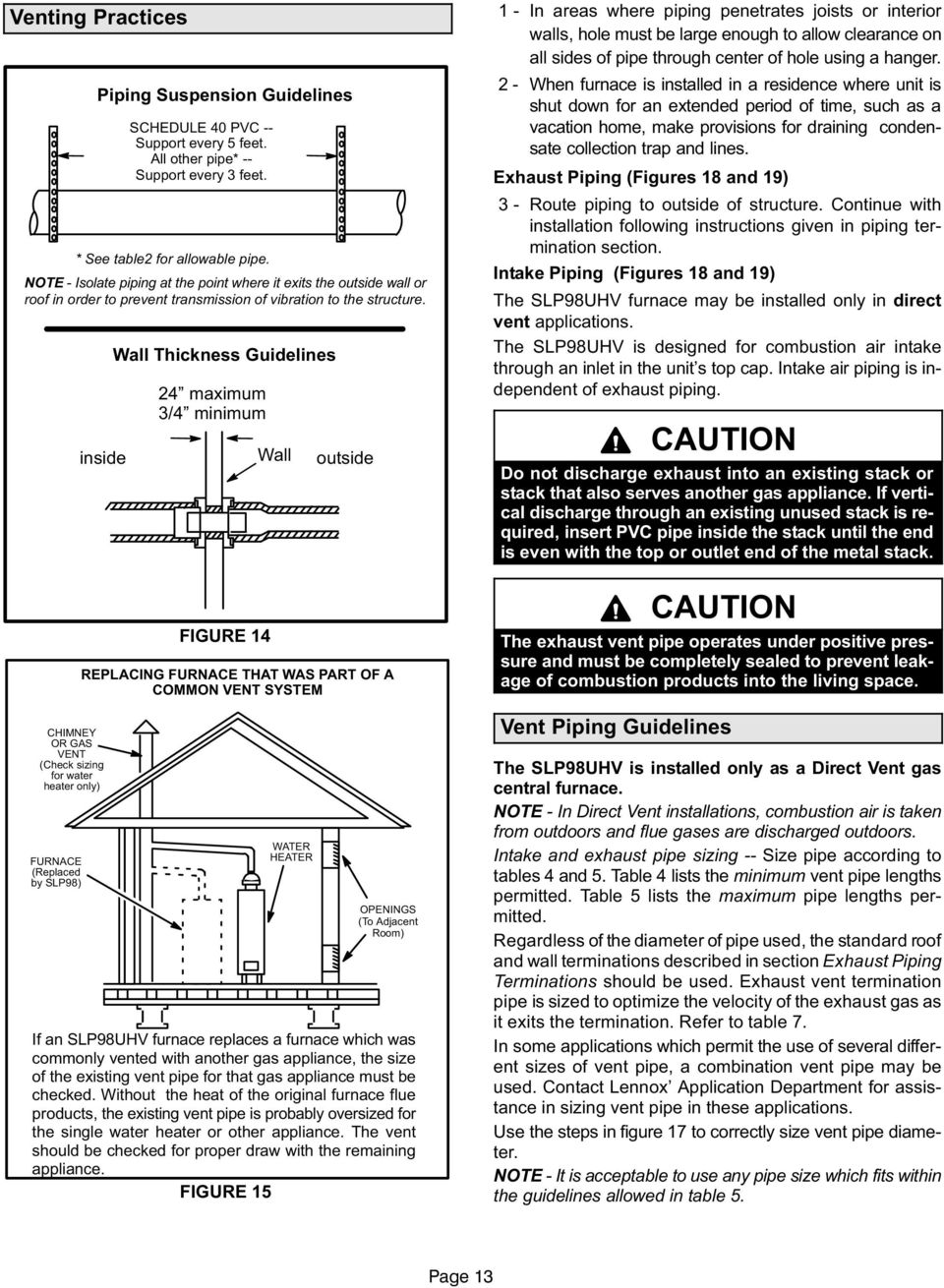 Installation Instructions Slp98uhv Dave Lennox Signature Collection Electrical Can You Terminate More Than One Common On The Furnace C Inside Chimney Or Gas Vent Check Sizing For Water Heater Only Replaced