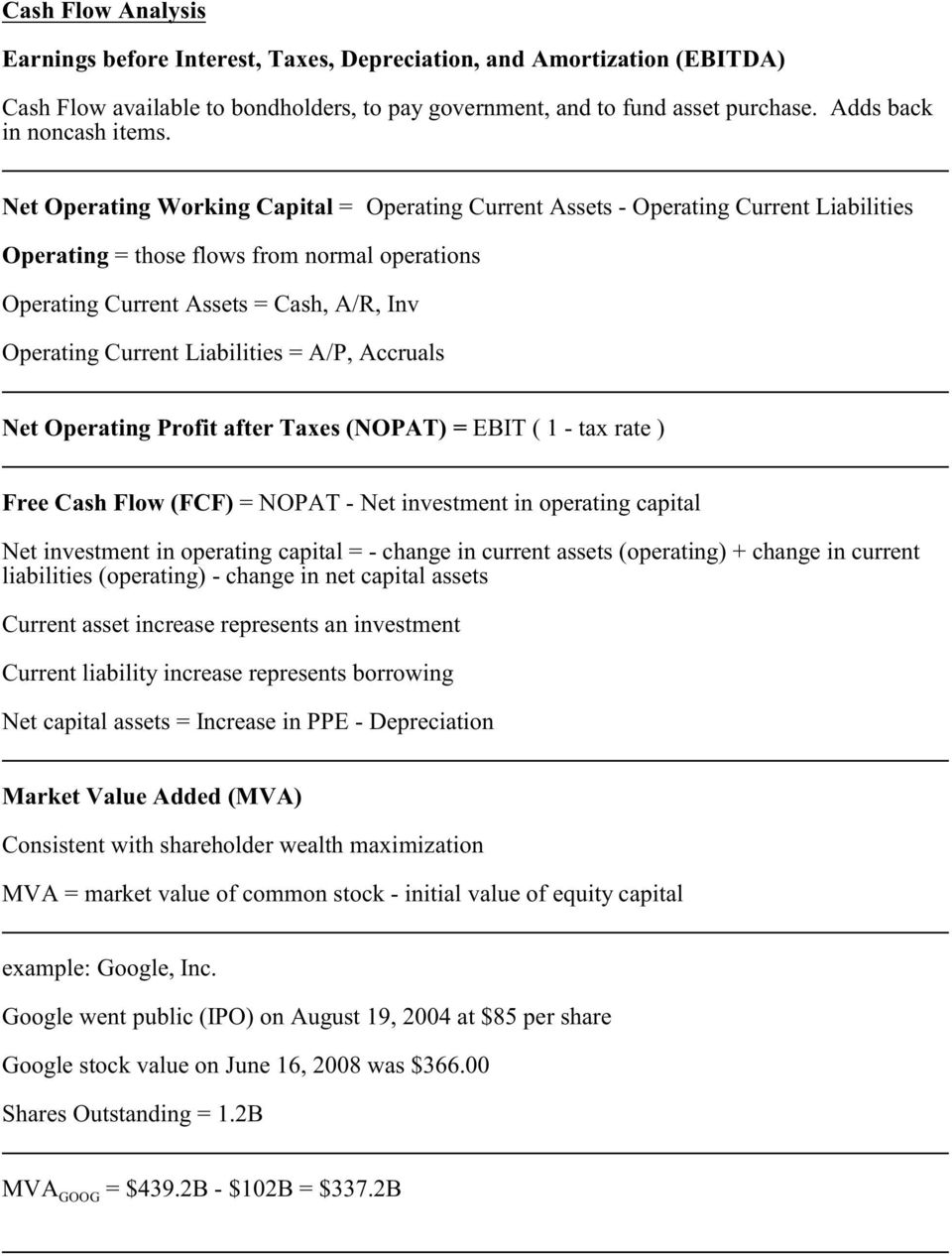 Net Operating Working Capital = Operating Current Assets - Operating Current Liabilities Operating = those flows from normal operations Operating Current Assets = Cash, A/R, Inv Operating Current