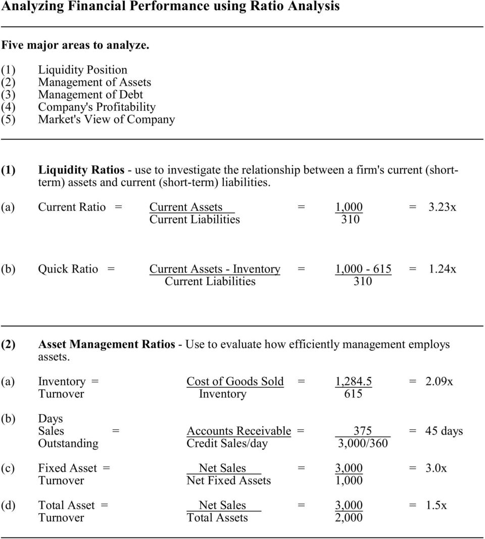 firm's current (shortterm) assets and current (short-term) liabilities. (a) Current Ratio = Current Assets = 1,000 = 3.
