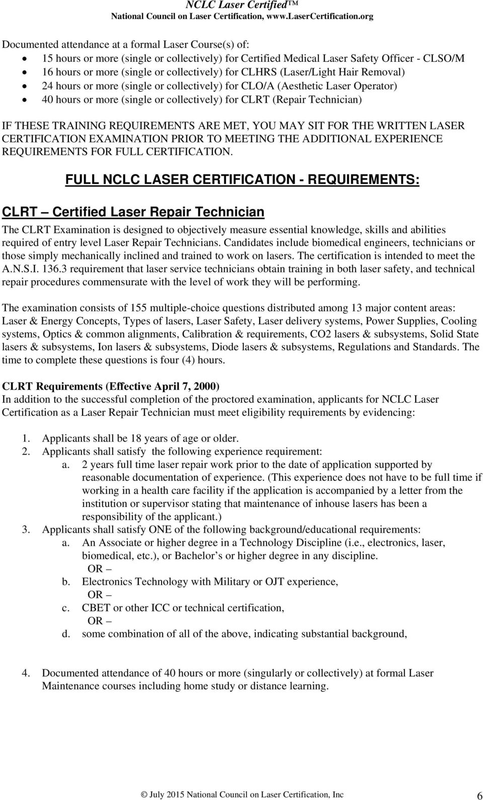 NCLC Laser Certified National Council on Laser Certification
