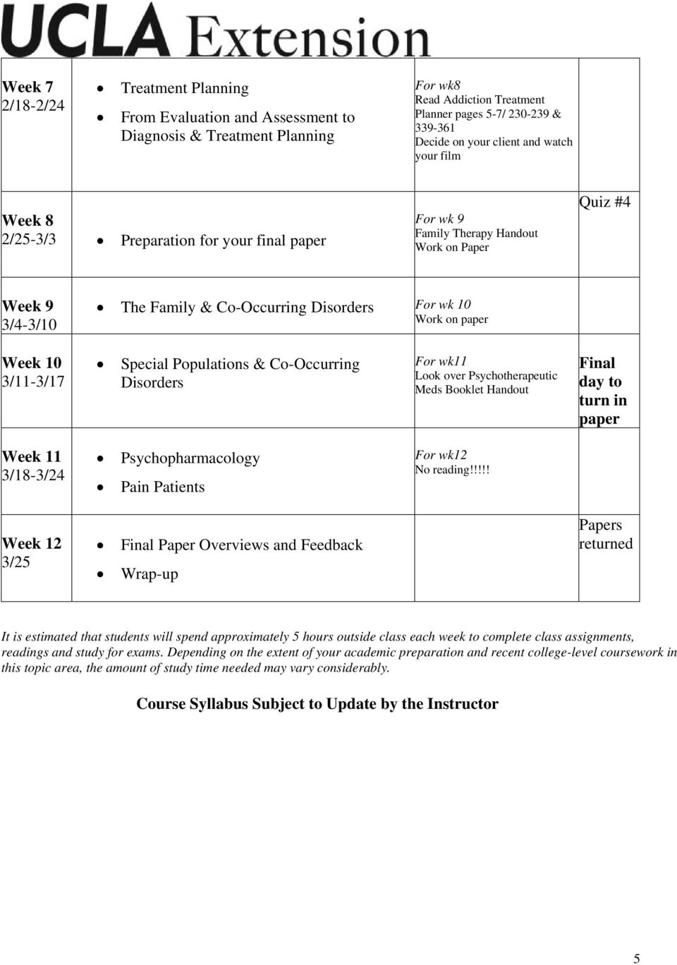 10 3/11-3/17 Special Populations & Co-Occurring Disorders For wk11 Look over Psychotherapeutic Meds Booklet Handout Final day to turn in paper Week 11 3/18-3/24 Psychopharmacology Pain Patients For
