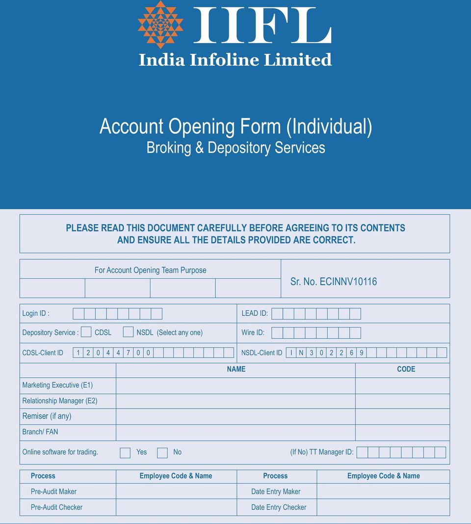 Account Opening Form (Individual) - PDF