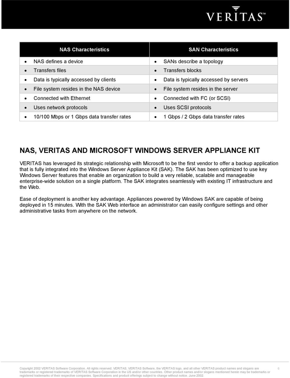 rates 1 Gbps / 2 Gbps data transfer rates NAS, VERITAS AND MICROSOFT WINDOWS SERVER APPLIANCE KIT VERITAS has leveraged its strategic relationship with Microsoft to be the first vendor to offer a