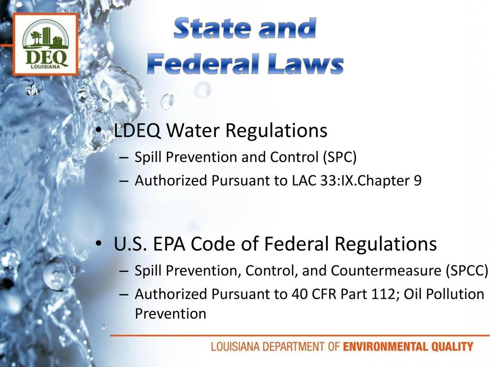 EPA Code of Federal Regulations Spill Prevention, Control, and