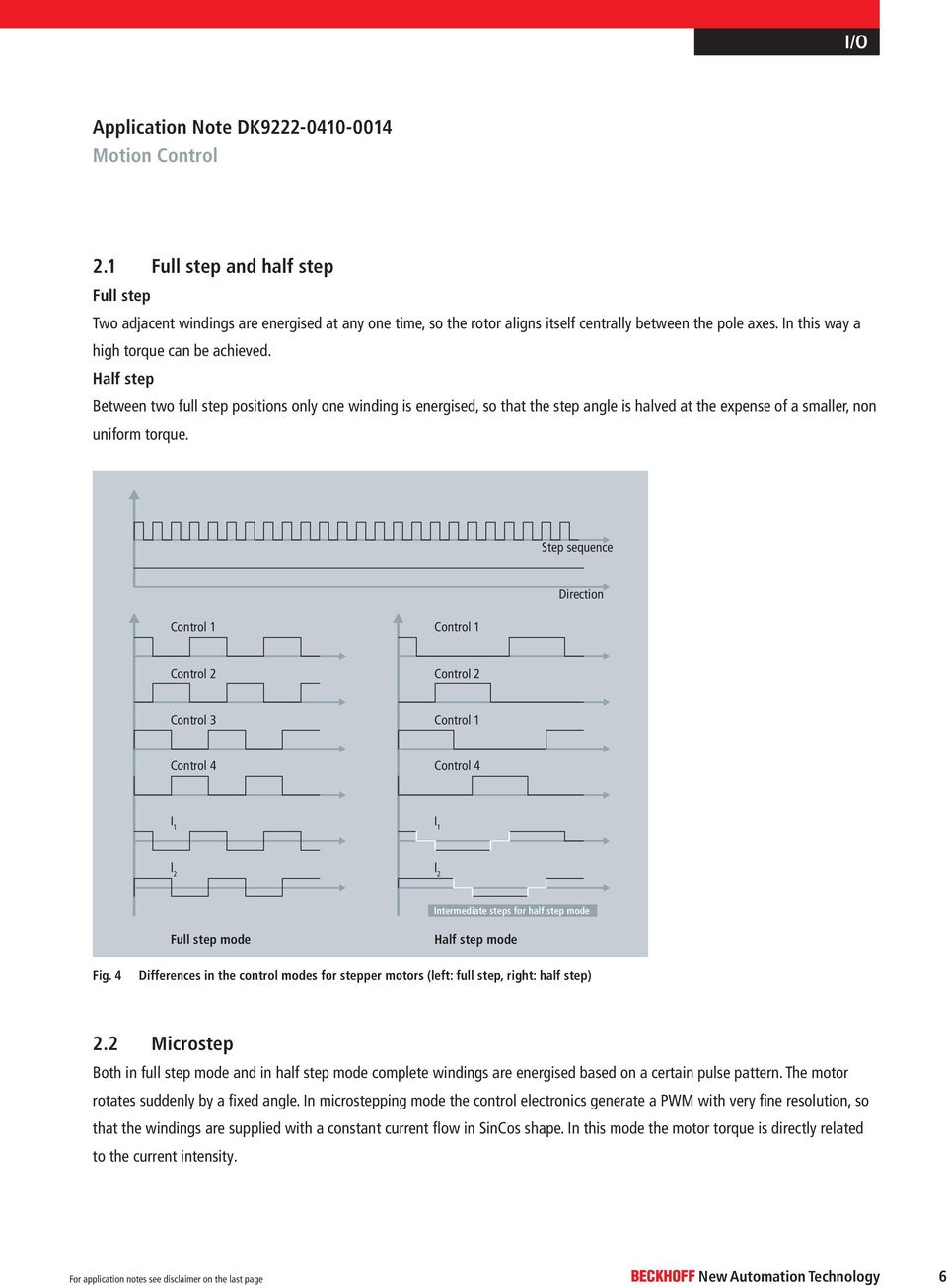 Stepper motor I/O. Application Note DK Motion Control. A General ...