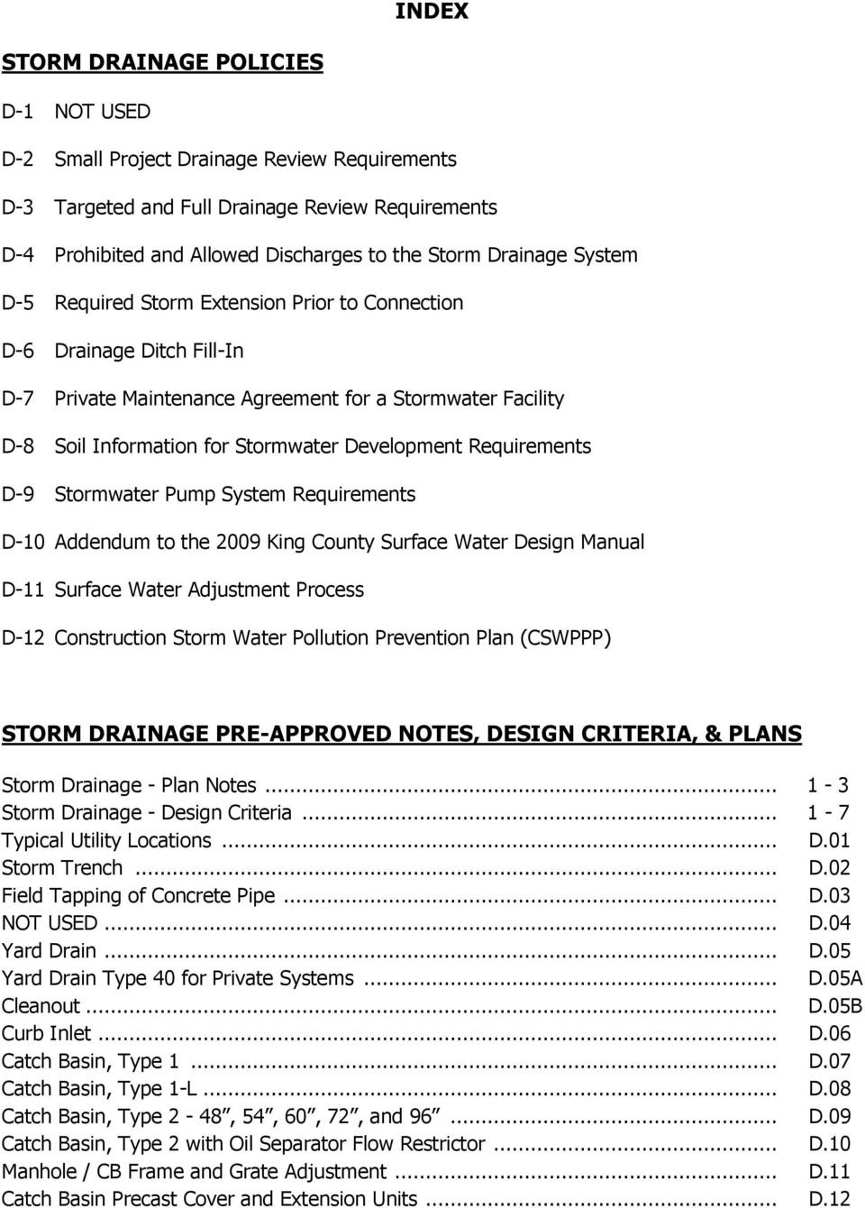 Index Storm Drainage Pre Approved Notes Design Criteria Plans Pdf