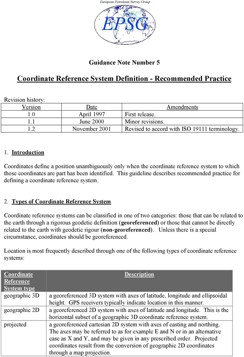 EPSG  Coordinate Reference System Definition - Recommended