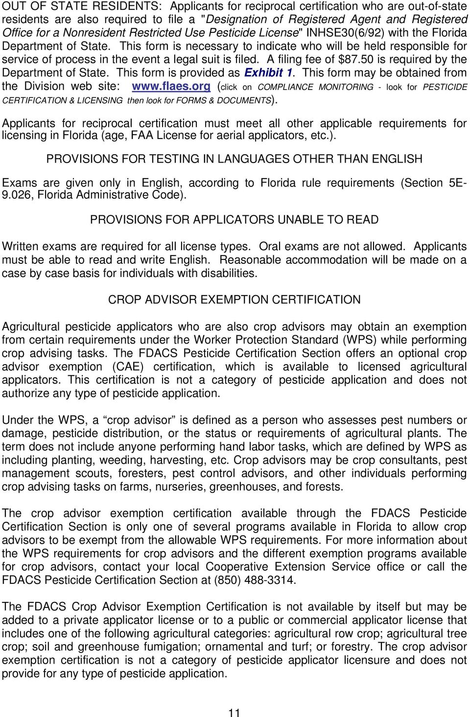 Pesticide Applicator Certification And Licensing In Florida Pdf