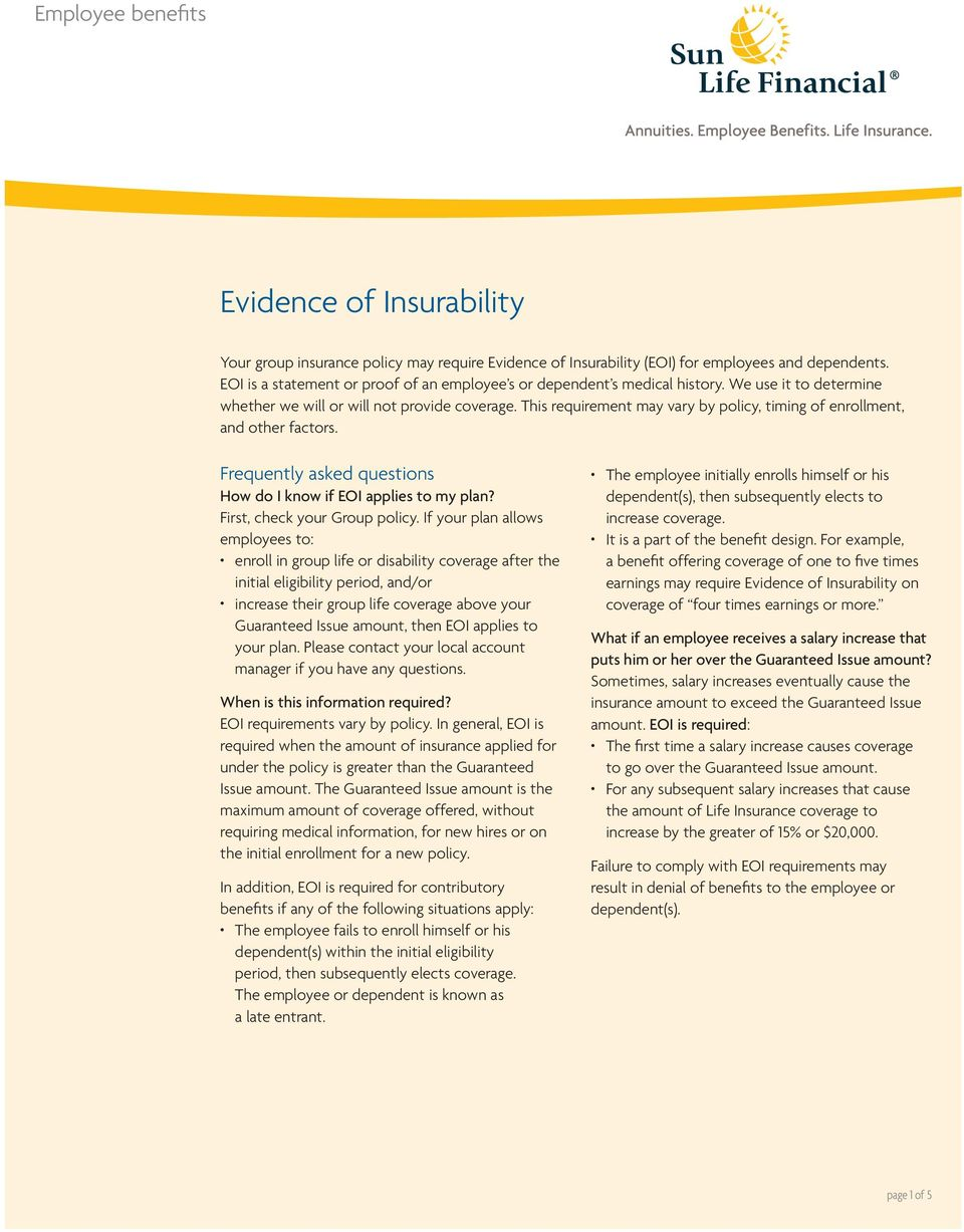 Evidence of Insurability - PDF