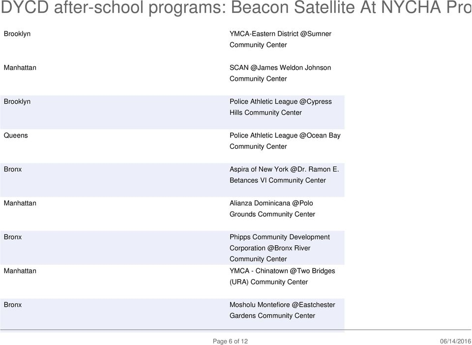 DYCD after-school programs: Beacon Satellite At NYCHA