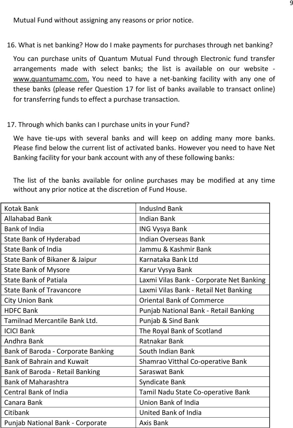 FAQs on Invest Online for QUANTUM MUTUAL FUND - PDF