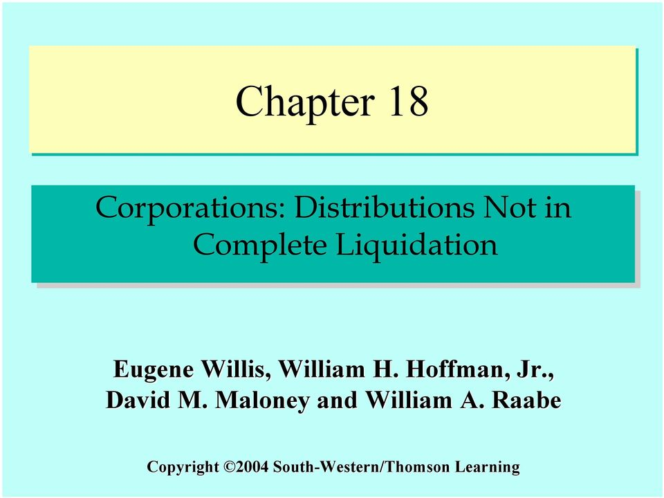 Chapter 18 corporate taxation nonliquidating distributions solutions manual
