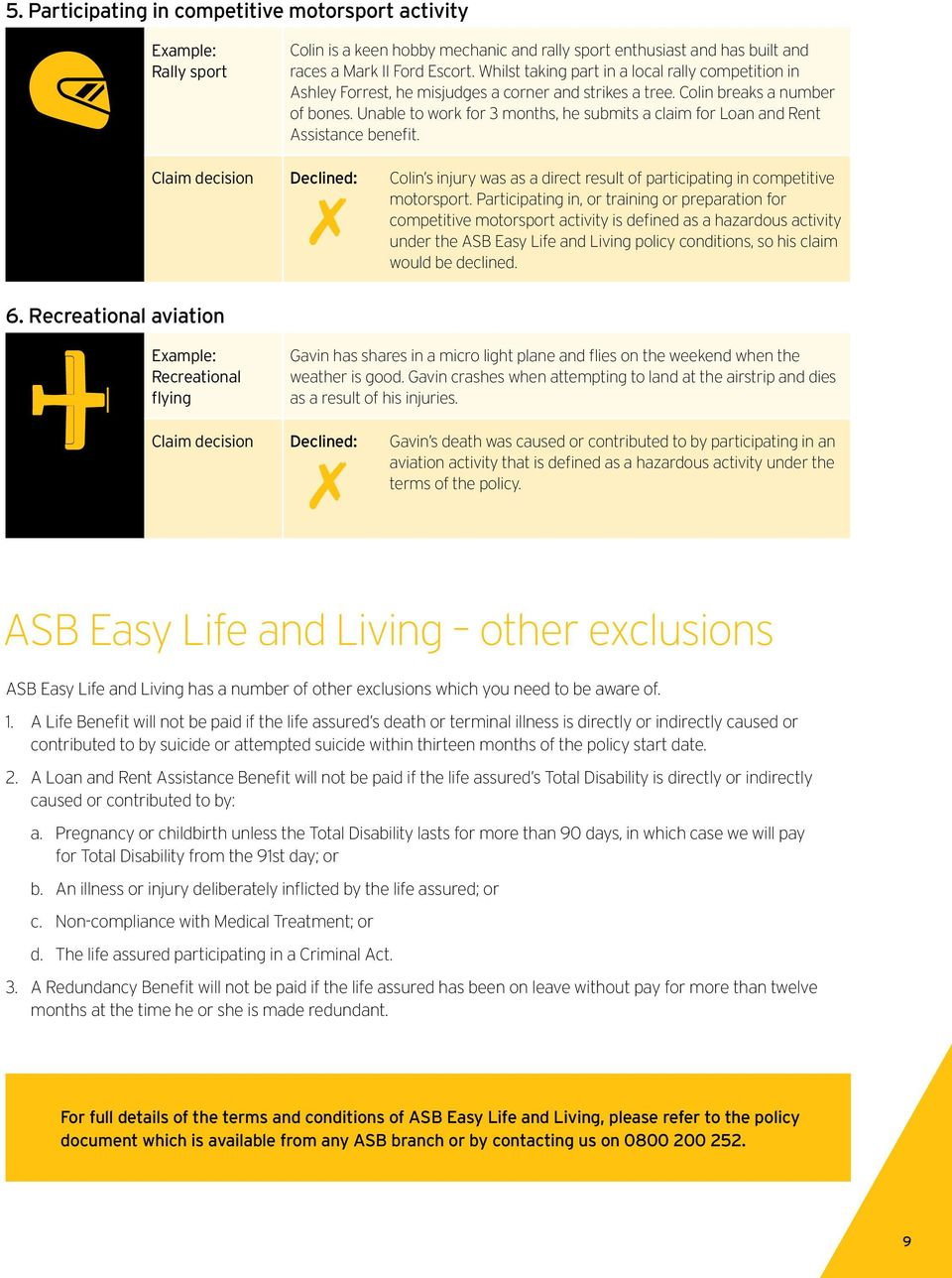 Pre-existing Condition and Hazardous Activity exclusions  ASB Easy