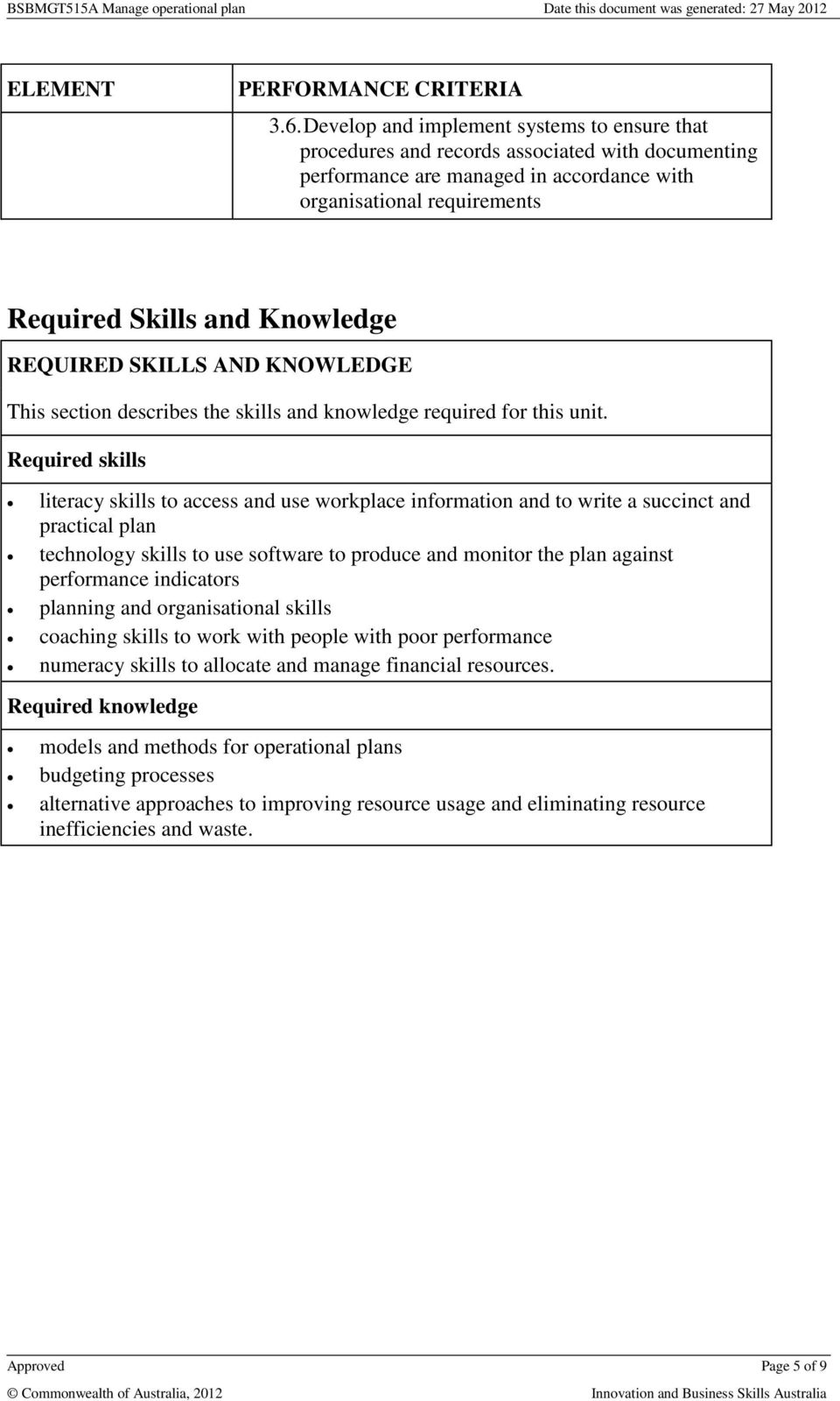 REQUIRED SKILLS AND KNOWLEDGE This section describes the skills and knowledge required for this unit.
